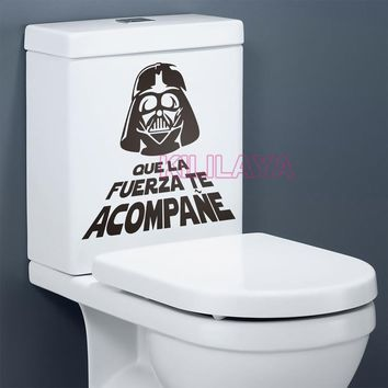 Star Wars Force Episode 1 2 3 4 5 Spanish  Quote WC Toilet Stickers Vinyl Wall Sticker Decals Wallpaper Mural Wall Art Home Decor House Decoration AT_72_6