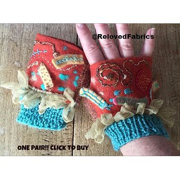 Fring-ey Shorties Fingers Free Mitts, Hand Warmers, Glovettes in Felt Embroidered, Knit and Crochet
