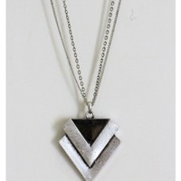 Metal Double Arrow Necklace - SilverTone
