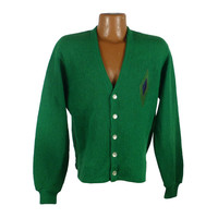 Cardigan Sweater Vintage 1960s Green Wool Mohair Damon Suede Leather Patch Men's