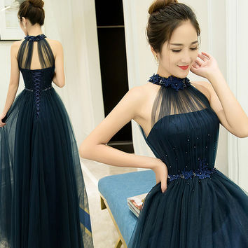 Fashion Elegant Floor Length Bridesmaid Dresses Custume Made Halter Off The Shoulder Wedding Party Prom Dress Long Navy Blue