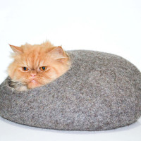 Felted cat bed, cat house, cats cave, pets dog house Natural  Grey color READY TO SHIP