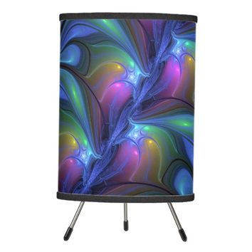 Colorful Luminous Abstract Blue Pink Green Fractal Tripod Lamp