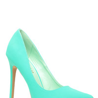 Mint Faux Nubuck Pointy Toe Classic Pumps