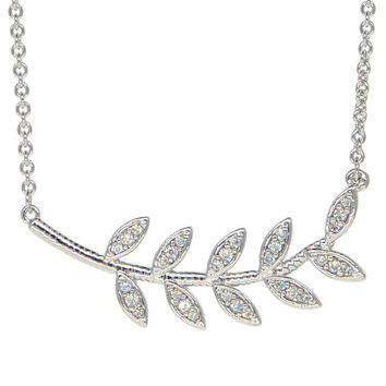 Dear Deer White Gold Plated Leaves Branches Pendant Necklace