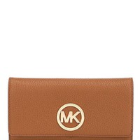 NWT Michael Kors Signature Fulton Carryall Wallet Clutch LUGGAGE GOLD