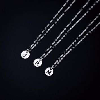 QUMORAIN Custom Select Disc Letters Personalized Initial Name Chain Necklace Couple Pendant Jewelry for Women Love Gift