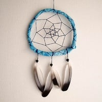 Dream Catcher - Boho&Classic - With Black and White Pigeon Feathers and Turquoise Frame - Nursery Mobile, Boho Home Decor, Decoration