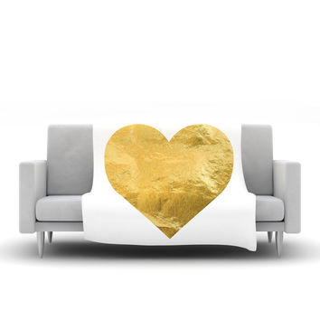 "KESS Original ""Heart of Gold"" Fleece Throw Blanket"