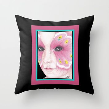 Butterfly Girl #1 Throw Pillow by drawingsbylam