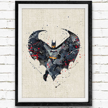 Batman Watercolor Poster Print, DC Comics Marvel Superhero, Boys Room Wall Art, Home Decor, Not Framed, Buy 2 Get 1 Free!