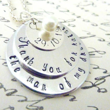Hand stamped Thank you for raising the man of my dreams Necklace Mother In Law Personalized jewelry