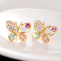 New luxury hollow brilliant Colorful crystal imitation pearl Gifts butterfly stud earrings