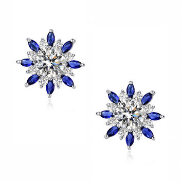 Round and Blue Marquise Cubic Zirconia Radiance Stud Earrings