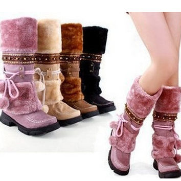 ladies half over the knee snow for women winter warm fur boots shoes EUR size 35-40 = 1932585092