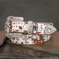 Cowprint Belt With Crosses - Women's Accessories - Women's