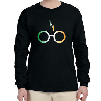 Men's Long Sleeve Irish Harry Glasses Scar St Patrick's Day Top