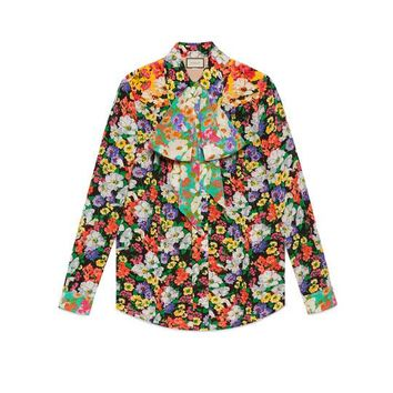 Gucci Wildflowers print pintuck shirt