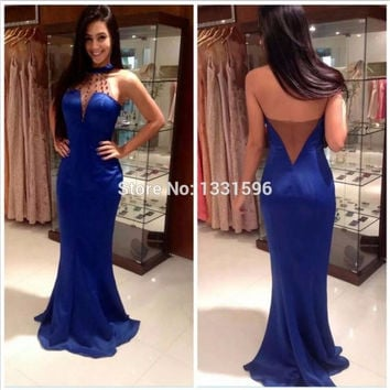 Royal Blue Mermaid Prom Dress 2016 Off The Shoulder Beading Backless Prom Gowns Evening Dresses