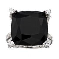 Sophie Miller Onyx & Cubic Zirconia Sterling Silver Square Ring (Black)