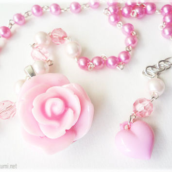 Pastel Pink Rose Pendant on Beaded Pearl Necklace in by ykonna
