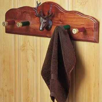Shotgun Shell Bathroom Accessories Wall Hook Rustic Country Lodge Cabin