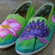 Custom Painted TOMS Shoes  Lotus Flowers by ArtisticSoles on Etsy
