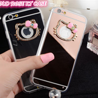 i6/6s Luxury Glitter Hello kitty case For iphone 6 6s 6plus 6splus 5 5s Rhinestone diamond TPU mirror case back cover capa E519