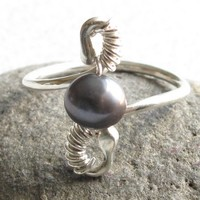 Handmade Sterling Silver and Gray Pearl Wire Wrapped Ring Size 8.5