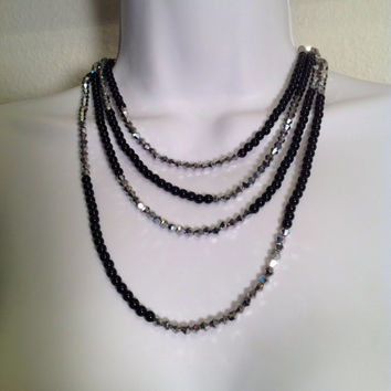Black and silver necklace // multistrand necklace // upcycled necklace // handmade jewelry