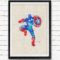 Captain America Watercolor Print, Marvel Superhero Watercolor Poster, Boys Room Wall Art, Home Decor, Not Framed, Buy 2 Get 1 Free!