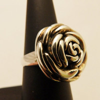 925 Sterling Silver Rose Ring Size 7.5