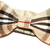 Beige checked burberry bow tie