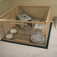"A Distinctive ""Home within a Home"" Exercise Pen - READY-TO-FINISH Solid Red Oak w/Floor"