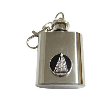 Black and Silver Toned Nautical Sail Boat 1 Oz. Stainless Steel Key Chain Flask