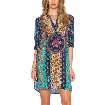 Ethnic Totem Royal Colorful Floral Geometric Print V-Neck Half Sleeve Shift Dress Gypsy Women Baroque Retro Boho Hippie femme