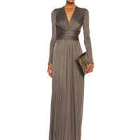 Florence Color Block Maxi Silk-Blend Gown in Smoke