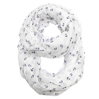White Infinity Scarf - Tiny Navy Anchors