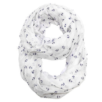 By the Sea Tiny Anchor Infinity Scarf White