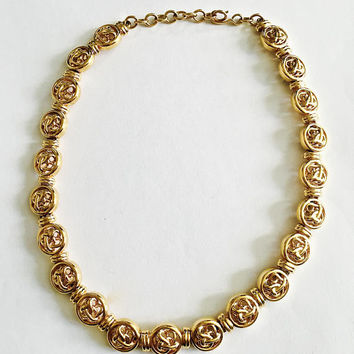 Vintage Monet Gold Toned Necklace, Circa 1950's Fashion Hollywood Glamour Necklace