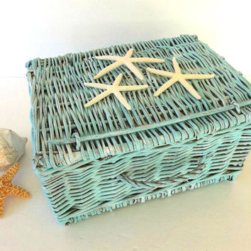 Starfish Basket, Beach Decor Aqua Blue hinged lid wicker basket, painted weathered, Nautical ocean decor, wedding card holder, Home Decor