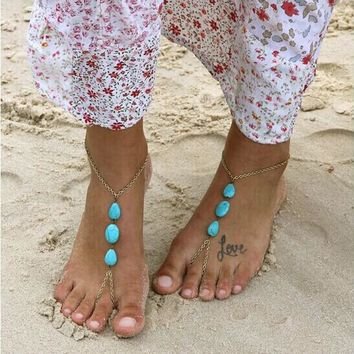 Barefoot Sandal Foot Jewelry Turquoise Beads Beaded Stretch Anklet Chain