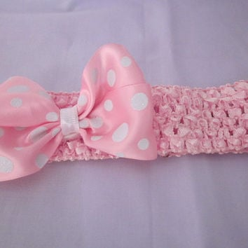Light Pink Sparkly Polka Dot Boutique Hairbow With Crochet Headband By Sweetpeas Bows & More