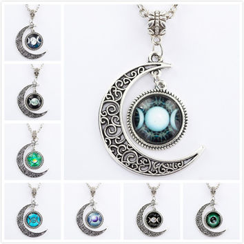 Triple Moon Goddess Pendant Pentacle Planet Necklace Wiccan Jewelry Glass Dome Silver Chain Hollow Pattern Necklaces