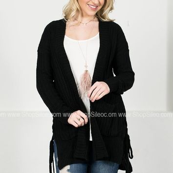 Lace Up Knit Cardigan | Black