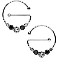 Black and Clear Universal Nipple Ring Set Created with Swarovski Crystals