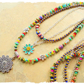 Boho Colorful Jewelry, Layered Bohemian Necklace, Beaded Necklace, Modern Hippie Jewelry, bohostyleme, Kaye Kraus