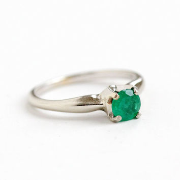 Vintage 14k White Gold Genuine Emerald Solitaire Ring - 1950s Mid-Century Size 5 Wedding Engagement Jewelry