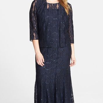 Plus Size Women's Alex Evenings Sequin Lace Gown & Jacket
