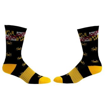 Crab black Maryland Flag Athletic Running Socks